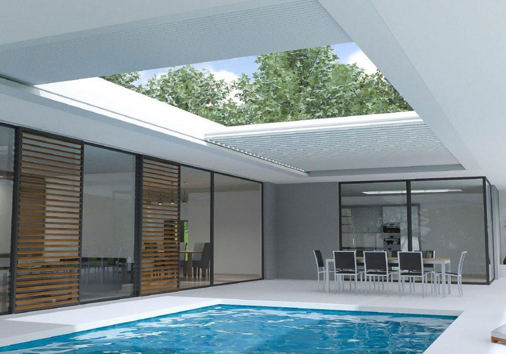 Lamellendach mit zur Seite geschobenen Lamellen über Pool